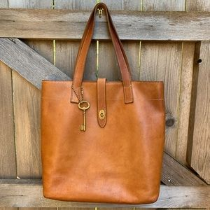 Fossil Leather Tote Bag